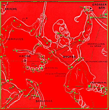 © Atlas der Sternenbilder 1945, Fotokollage aus Seite 26 von Oswald Thomas mit figuralen Darstellungen von Richard Teschner, »Das Berland-Buch« Salzburg, Photo-Chemigraphische Kunstanstalt Robert Seyss, Wien