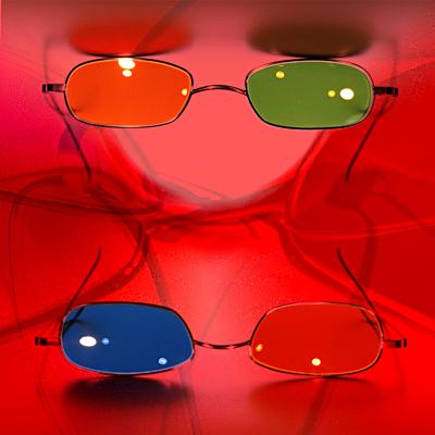 © Meinrad Hofer und Josef Gottwald 2004 - © Mood Corrective Series 2004 - Dieter Telfser. Verwendeter Glastyp für Mood Corrective 2004: ROT—BLAU: Essilor Orma/Physio/R: 75% rot/L: 75% blau   ORANGE—GRÜN: Essilor Orma/Physio/R: 75% orange/L: 75% Grün Nr. 454. Modell: Alpha III von Freudenhaus Optik.
