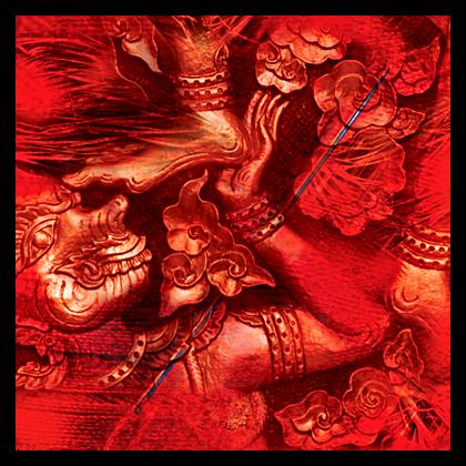 © Dieter Telfser 2005 — Diese Kollage verbindet die Symbiotik von »Mögen« und »Vermögen« auf sehr eindrucksvolle Weise. Zwirn, Stecknadel, Straußenfedern nähern sich der Khmer Kultur. Die Khmer sind das Staatsvolk von Kambodscha und stellen mit mehr als 12 Millionen Einwohnern mehr als 85% der Bevölkerung. Ca. 3 Millionen Khmer siedeln in den Nachbarstaaten: Thailand, Laos und Vietnam.